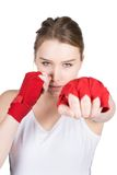Woman in boxing position Royalty Free Stock Photography