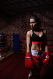 Woman in boxing ring Royalty Free Stock Images