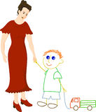 Woman and boy Stock Images