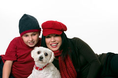 Woman, boy and dog Stock Images