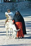 Woman with a boy on a donkey. And two little goats. stock images