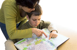 Woman and boy looking at map Royalty Free Stock Photo