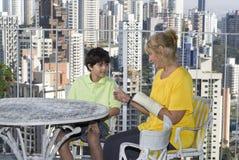 Woman and Boy Talking - Horizontal Royalty Free Stock Photos