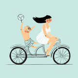 Woman and boy on tandem bicycle. Scooter rider,  illustration Stock Photo