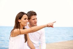 Woman and Boyfriend at the Sea Royalty Free Stock Photography