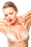 Woman in bra Stock Photography