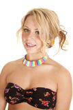 Woman bra with rainbow necklace Stock Photos