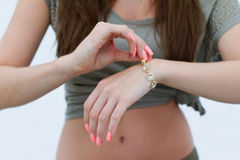 A woman with a bracelet Royalty Free Stock Photo