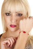 Woman bracelet lady bug Stock Images