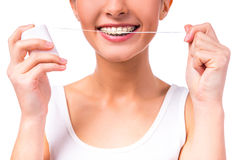 Woman with braces stock photography