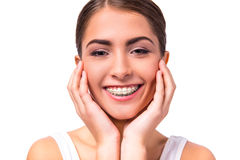 Woman with braces Stock Image