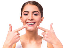 Woman with braces Royalty Free Stock Photos