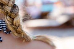 Braid hairdo. Woman with braid hairdo, Hairstyle stock photos