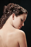 Woman with braid hairdo Royalty Free Stock Photography
