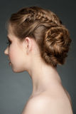 Woman with braid hairdo Stock Photo