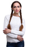 Woman braided hair. Beautiful woman with braided hair isolated on white royalty free stock image