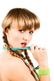Woman with braids Stock Image