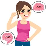 Woman Brain Intestine. Beautiful young woman pointing her brain and intestine stock illustration