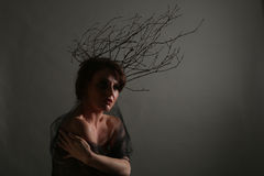 Woman With Branches as a Creative Head Piece Stock Photo