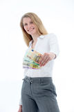 Woman Brandishing Euro Notes Stock Photo