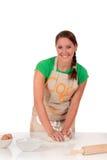 Woman bread dough Stock Photos