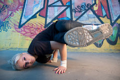Woman breakdancing Royalty Free Stock Images
