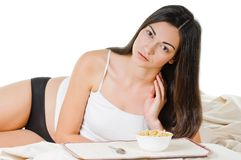 Woman breakfast Stock Photo