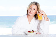 Woman breakfast juice Royalty Free Stock Image