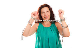 Woman breaking chains Stock Photos