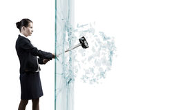 Woman breaking glass Stock Image