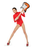 Woman breaking a guitar over white Royalty Free Stock Photography