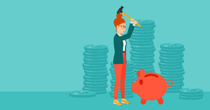 Woman breaking piggy bank. A woman with a hammer breaking a piggy bank on a blue background with stacks of coins vector flat design illustration. Horizontal Royalty Free Stock Photos