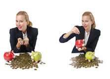 The woman breaking piggy bank for savings Royalty Free Stock Photo