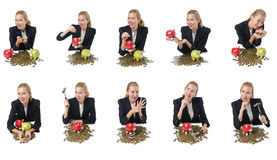 The woman breaking piggy bank for savings Stock Image