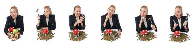 The woman breaking piggy bank for savings Royalty Free Stock Photos