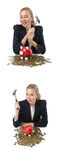 The woman breaking piggy bank for savings Royalty Free Stock Photography