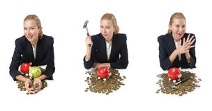 The woman breaking piggy bank for savings Stock Photo