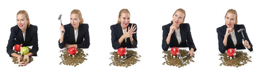 The woman breaking piggy bank for savings Stock Photography