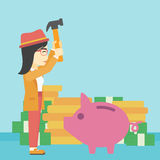 Woman breaking piggy bank vector illustration. Stock Image