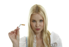 Woman breaks Cigarette Royalty Free Stock Photography