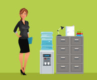 Woman breaktime office cooler water cabinet file. Vector illustration eps 10 Royalty Free Stock Photos