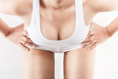 Woman breast in bodice Stock Images