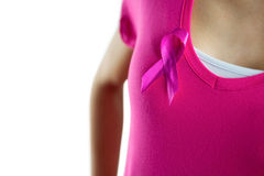Woman with breast cancer ribbon. On white background
