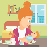 Woman with breast pump. Stock Photos