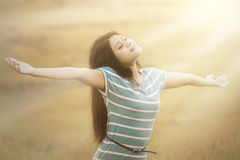 Woman breathe fresh air outdoors Royalty Free Stock Photos