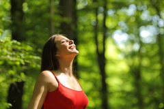 Woman breathing fresh air in the forest. Woman breathing fresh air in a green forest in summer wearing a red shirt Royalty Free Stock Photography