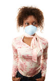 Woman with breathing mask Royalty Free Stock Images