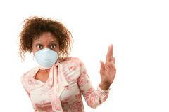 Woman with breathing mask Royalty Free Stock Photos