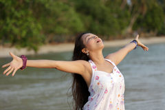 Woman breathing in nature Royalty Free Stock Image