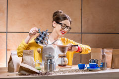 Woman brewing alternative coffee Stock Photography